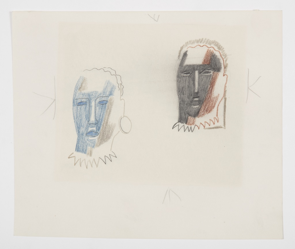 Two studies of an abstractly rendered head. At left, head shaded in blue and gray, with facial features rendered in black line. A large hoop earring hangs from the head's left ear. The neck of the figure is depicted as a frayed, zig-zag line. At right and slightly above, a second head, shaded in brown and black. This head also has a zig-zag neckline, but does not have an earring. Surrounding the image, four marks indicating framing.