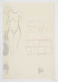 Study of a nude figure, standing frontally at left, depicted without a head, arms, or feet. At upper right, a study of a head, a hand, and a shoulder seen from behind between proportional framing lines. At lower right, a study of a head, and a buttocks between proportional framing lines.