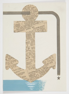 Study for Orient Line Campaign. An anchor cut from a newspaper advertisement for the Orient Line to Australia is suspended over water by a stylized gray cord.