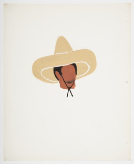 Study of a faceless head and neck, upon which rests a wide-brimmed sombrero hat, with a black string tied under the chin. The head is depicted with black hair and a shadow of black around the chin, suggesting stubble.