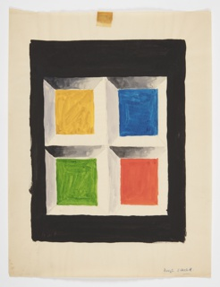 Design for a geometric composition. Four squares in a two by two arrangement (yellow, blue, red, and green going clockwise). Each square is set within a white tromp l'oeil frame with a black rectangle surrounding the composition.