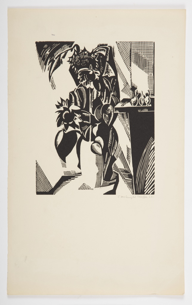 Woodblock print of sunflowers in a vase sitting on a table with a shelf in the background at right, rendered abstractly.