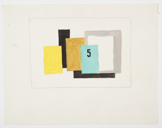 """Study for the book cover of """"5 on Revolutionary Art"""" published by Wishart. Study for the book cover of """"5 on Revolutionary Art"""" published by Wishart. At center, an arrangement of overlapping vertical rectangles in solid colors. From left to right: yellow, black, gold, light blue, gray, and white. Within the blue rectangle, a black number five. Surrounding the image, graphite framing lines."""