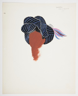Study of a faceless head and neck, upon which rests a black and blue woven head covering.  At right side, blue, pink and purple ribbons attached to the head covering with three silver rings. Study depicts the traditional head covering worn by the indigenous people from Yalálag, Mexico.