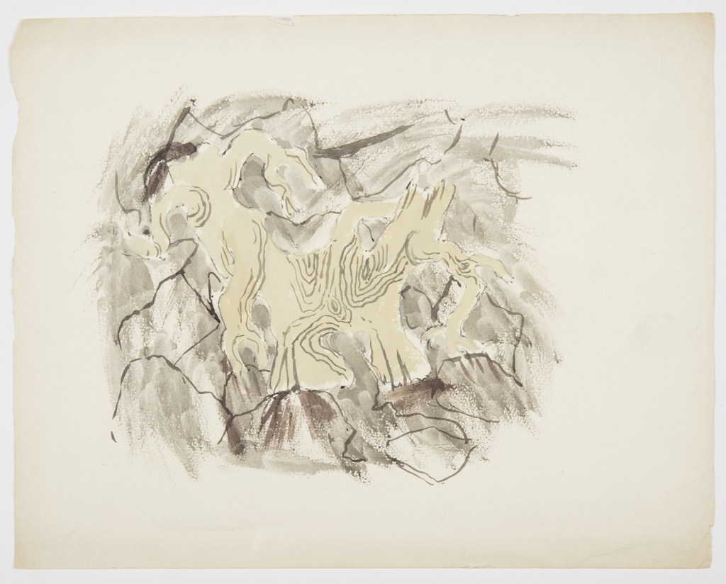 Study for an illustration or a motif. At center, a bare, gnarled tangle of tree branches against a cracked dirt-like ground.