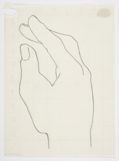 Study of a right hand, seen slightly open from the side with thumb in the foreground and fingers to the left, pointing upwards. Superimposed over the study, scaling grid lines numbered across the top one through six, and down the left side of the page in alphabetical order A through J.