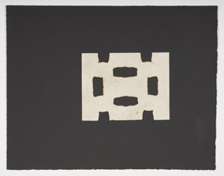 At center, a white, rectangular piece of paper cut into an abstract shape (not unlike a simple, rectangular snowflake). The white shape is pasted down on a larger black sheet of paper, centered slightly above the midway line.