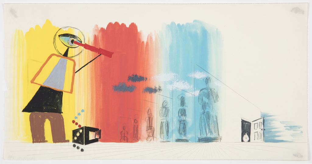 Design for an advertisement, likely for the Gas Light and Coke Company. An abstracted figure in red, black and blue holds a telescope to its eye, peering at a series of statue-like, smaller figures on a yellow, red, and blue ground The statue-like figures are arranged in increasing size from left to right. Between the line of statue-like figures and the telescope-holding figure, an open safe. At right, an open door with a clock in the doorframe.