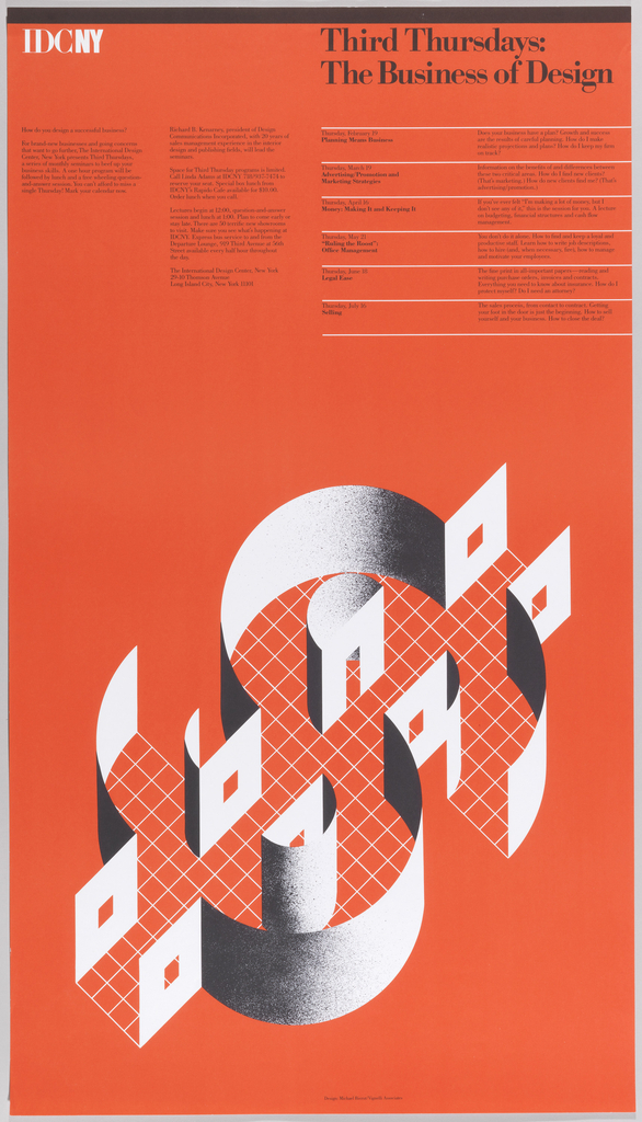 On an orange-red ground, paragraphs of black text in upper left. Title in black, upper right: Third Thursday: / The Business of Design. Under this are registers in white with black text with information. Lower section has grid pattern in white with what looks like a 3D structure in shape of a dollar sign [$].