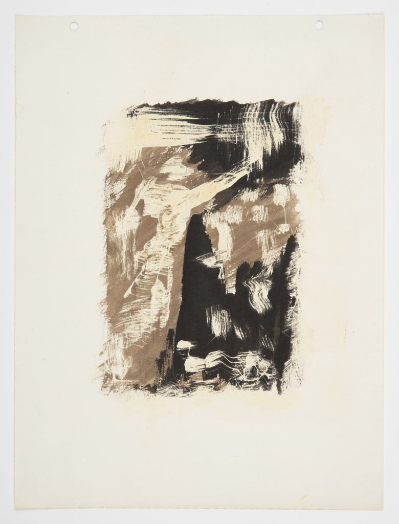 Study of an abstract composition, comprised of overlapping brown, white, and black brushstrokes forming a rectangular ground.