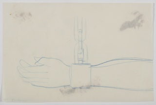 Study of a shackled left arm. A hand and arm and depicted horizontally with a shackle around the wrist and a chain extending from it upwards.
