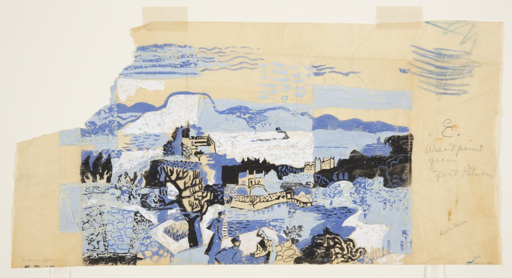"Preliminary sketch for ""West Point"" from Reeves's Hudson River series. Horizontal format features abstracted landscape showing West Point as seen from Fort Putnam in upstate New York. In the foreground, several figures in military costume can be seen among a path in white and several sections of stone pavement. A bare tree rises up at lower center-left, behind which a building on a hill stands out against a mountainscape in blue and white. To the right, additional structures appear behind a body of water, these receding into space and silhouetted against abstracted woods and mountains. Different textures used to render sky above; scribbles in color pencil or crayon at upper right. Entire scene rendered in shades of blue, white, and black. Signed ""Ruth Reeves"" in graphite at lower right."