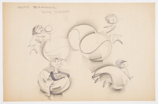 Design for snap-together play shapes for children. At center, various children figures are shown playing with biomorphic semi-spherical shapes that snap together to become a sphere; they are seen playing with the object in singular, together as a pair, siting astride the form as well as crawling below an inverted one.
