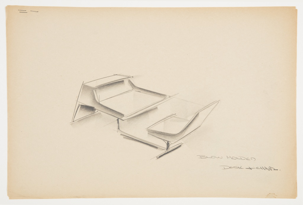 Design for blow-molded combination desk and chair. At center, perspective shows rectilinear desk with sloping sides and front; front plane supports object, whose writing surface cantilevers backward and is supported by a bar that angles rearward to support attached seat, with additional crossbar below this component. Chair is armless with back taller than seat is deep. Inscribed in graphite at lower right: BLOW MOLDED / DESK & CHAIR.. Stapled to other designs.