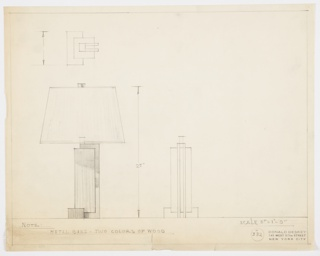 Design for table lamp seen in plan, front elevation, and partial side elevation. Rectangular wood base gives rise of tall rectangular volume in second wood; this is wrapped on one side by two parallel metal bars. Trapezoidal shade with rectangular finial above. Materials and dimensions inscribed. Inscribed with Deskey No. 382.