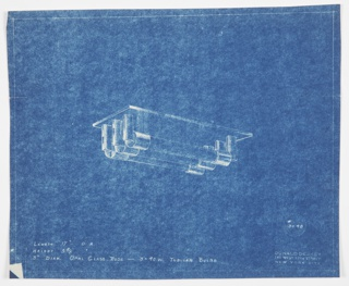 Design for ceiling light fixture. At center, rectangular plate would affix to ceiling; from this are suspended six evenly placed metal rectangles that hold three opal glass rods each containing 40-watt tubular bulbs. On either end, rods capped by metal cylindrical mount. Dimensions and materials inscribed, as well as Deskey No. 3048.