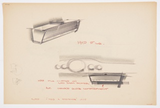 Design for automobile map file or clip-on glove compartment. At upper left, perspective shows blow-molded map file: overall rectilinear volume with horizontally striated front panel, likely an integral hinge sliding door, below which MAP FILE is inscribed in majuscules. Object tapers inward below and above features a track by which it can be mounted onto a corresponding runner affixed to the dashboard. Below, partial elevation shows object mounted in automobile interior along with notations in red color pencil. At lower left, sketches describing mounting components. Signed HOYT in red color pencil at lower right. Stapled to additional drawings.