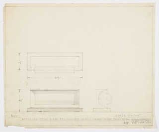 Design for lamp shown in plan and front and side elevation. Rectangular base of glass or lacquered metal on which a hallow rectangular volume of extruded metal rests. At its center, the hollow form features a metal sheet that extends forward to hold a tubular bulb just behind a curved sheet of polished chrome, or shield, which conceals the bulb's glare. Materials and dimensions inscribed. Inscribed with Deskey No. 377.