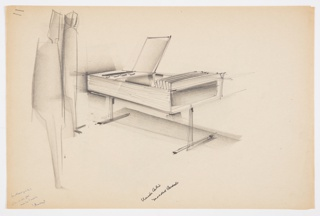 Design for vanity or storage console. At center, perspective shows rectilinear object supported by two inverted T-shaped legs. Overall body in wood or wood-patterned laminate. At left, top surface folds up revealing storage area below. Right two-thirds accessed by integral hinge sliding door that folds rightward to reveal recess within. At left, two figures stand near object. At lower left, blue ballpoint pen inscription by Wes Junker indicates drawing is a study for Union Carbide; additional pen and black ink inscription at lower center confirms. Stapled to additional drawings.