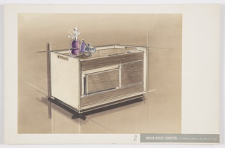 Presentation drawing of a design for an air purifier. At center, horizontal rectangular volume features sides in beige material, likely metal; sides and rear extend upward beyond top of main volume and sides include rectangular perforated hand-holds. Top and front surfaces clad in wood or wood laminate; t op features notional brand name at left as well as a small control panel. Front comprised of four components: rectangular sections above and below, shorter panel at center right, and at left an indented section with wood panel mounted at center. Object accented by three glass vases in purple hues.