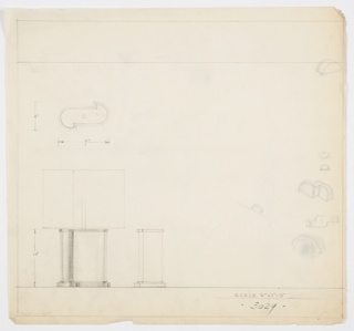 Design for table lamp. At lower left, front elevation shows lamp with two-tone metal base resting on foot of same plan: central rectangular volume with curved sides that crook out from base,  asymmetrically arranged. Rectangular shade. Object also seen in plan and partial side elevation. On verso, several quick sketches of various volumes interposed or interacting with one another. Inscribed  dimensions and Deskey No. 3029.