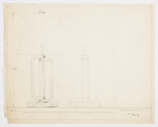 Design for table lamp seen in front elevation and partial side elevation. Object features circular glass and metal base from which two lengths of rectangular chrome tubing at stacked within each other on either side of a clear glass rod which extends upward to hold bulb. Trapezoidal shade and asymmetrical metal finial above. Inscribed with materials, dimensions, and Deskey No. 3023.
