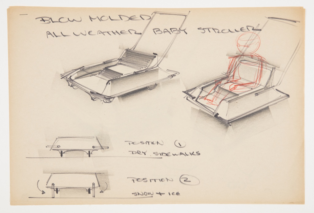 Design for blow-molded, all-weather baby stroller. At upper left, perspective shows low seat positioned in upward sloping square volume with four wheels and two parallel runners and angular push bar extending upward from rear. Seat- and leg-back with horizontal striations. At upper right, child figure in red color pencil shown seated in stroller. Below, design details showing stroller's Position 1 for dry sidewalks, wherein wheels are used, as well as Position 2 for snow and ice, wherein the runners fold down from sides to create runners for wintry terrain. Stapled to other designs.
