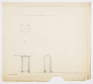 Design for table lamp. At lower left, front elevation shows rectangular lamp body, likely in marble, resting on four angled metal disk feet. Sides of lamp body wrapped in curved metal planes. Rectangular shade and cylindrical finial. Object also shown in plan and side elevation.