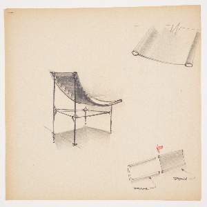 """Design for plastic, snap-together lounge chair for Union Carbide. At center left, rear perspective shows armless, lounge-style chair supported by frame consisting of slender rods and fortified by stretchers with buttresses. Parabolic seat comprised of horizontal elements. At lower right, diagram possibly for another design (1988-101-1534) describing how """"poly"""" element inserts into frame; upper right detail of seat surface possibly for the same. Stapled to additional designs."""