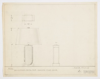 Design for table lamp seen in plan, front elevation, and partial side elevation. Two segments of tubular chrome form base of U-shaped lamp body in wood with metal trim wrapping sides. Trapezoidal shade with metal finial atop. Inscribed materials and dimensions. Inscribed with Deskey No. 381.