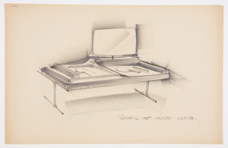 Design for vanity in plastic and wood. At center, perspective shows rectangular object supported by two inverted T legs. Main frame is wood and inset with plastic storage trays; at left, this is accessed by an integral hinge sliding door while at right it is open. Also at right, a short rod holds a rectangular mirror. Inscribed in graphite, lower right: PLASTIC & WOOD COMB. Stapled to additional drawings.