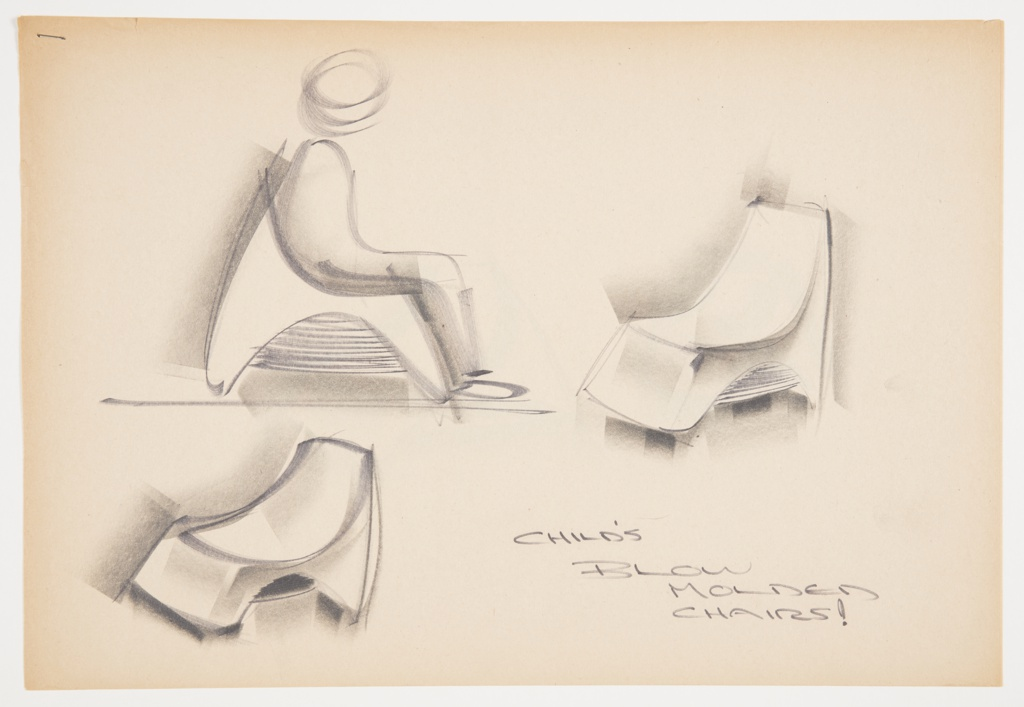 Design for child's blow-molded plastic chair. At upper left, side elevation shows low, parabolic chair with negative space on sides and front and rear planes extending to ground; a child occupies the seat. At center right, perspective view with chair with higher back, and additional perspective of chair with lower back at lower left. Inscribed in black marker at lower right: CHILD'S / BLOW / MOLDED / CHAIRS!. Stapled to other designs.