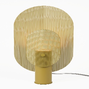 Lamp of two yellow perforated oblong metal discs flush with central cylindrical post