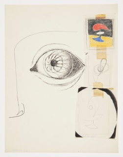 Study for a part of a face in semi-abstraction. At center, a large left eye and a portion of a nose and brow ridge to the left. Three additional compositions pasted on top of this in a vertical line to the right.