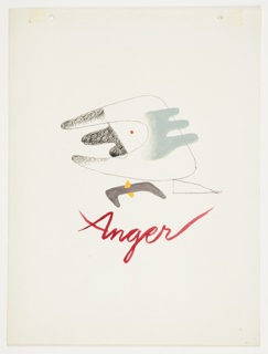 Study for an abstract composition, entitled Anger. At center, an abstract figure with arms extended to the left. At the center, a red eye. In red script text, below: Anger.