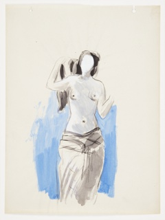 Study of a nude standing frontally with hips and legs draped in cloth. The raises their long black hair above their right shoulder with their right hand, and the left arm is bent at the elbow (no hand is depicted). The figure's face is shaded in white and is blank. Behind the figure, a blue ground. At top, two hole punches.