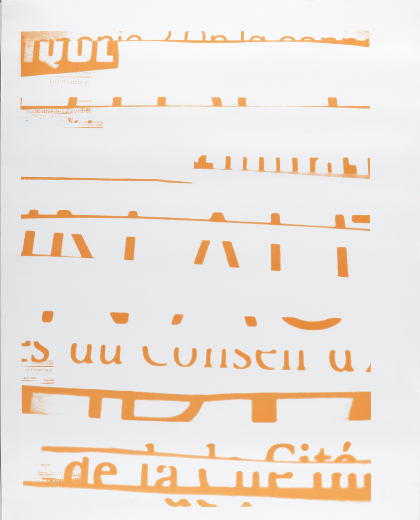 Orange French newspaper montage that has been nearly completely erased; with only a few identifiable areas of text.