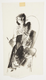 Study for a semi-abstracted figure, seated in a round-backed chair, facing frontally. The figure crosses one leg over the other, and the figure's left arm is placed diagonally across their body. Figure is partially shaded in black and grays.