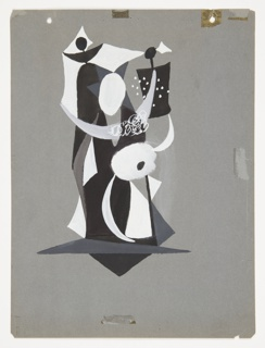 Study for a grouping of abstract figures, shown standing. Figures are comprised of white, black, and gray geometric shapes, with crescent moon shapes depicting the arms. Two holes at top of page and stains from tape along top edge, right side, and at center bottom.