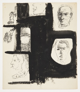Studies of four heads and two figures with two additional studies crossed out. Each study is separated by areas that have been blacked out in ink. At center top, a face in left profile, depicted only from the nose down. The face is smiling broadly to show large teeth. In right corner, a bald head turned slightly to the left with the ride side of their face in shadow. Below, a face seen frontally, with short, slicked back hair and a collared shirt and tie indicated around the neck. At bottom left, a face seen in left profile with a cigarette between their lips. In the same frame, below the smoking face, a reclining nude figure leaning on one elbow. Above Two studies that have been crossed out. In top left corner, a kneeling nude figure in left profile with left arm raised to their head. The figure appears to wear long black stockings or boots.