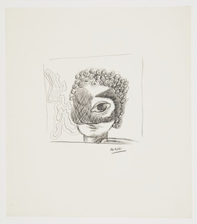 Study of an abstract rendering of a human head, partially obscured by a mask. The head faces frontally, but all of its features (except for the right eye and lips) are obscured by a black mask. The head sports curly black hair, cut short. At left, a coral-like pattern forming a partial background. The composition is surrounded by a rectangular framing lines.