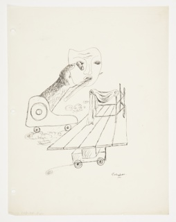 Study for an abstract composition. At left, an arm extends out of a wheeled trolley, and holds a drama mask with the pointer finger of the hand poking through the eye of the mask from behind. A feather is pierced through the mouth from the front, with the point of the feather seen emerging from the back of the mask at the right. Below and to the right, a wheeled, wooden platform, upon which stage props are arranged on top.