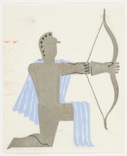 Study of a kneeling archer, rendered in semi-abstraction. The archer faces right with a bow and arrow pointing to the right. The archer has a helmet adorned with black stars and a blue cape is drapes down from the archer's shoulders behind, and is thrown over the kneeling thigh.