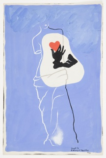 Design for an abstract composition with a depiction of the Venus de Milo, possibly for a book cover or advertisement of some kind. On a blue ground, the Venus de Milo depicted in white and black outline. Superimposed over the statue's chest, a red heart held by a black-gloved hand on an ireegularly shaped form.