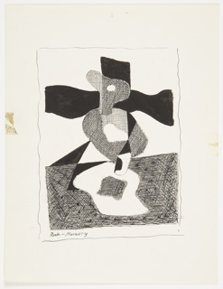 Study for an abstract composition in black and white. At center, a figure standing behind a table depicted with various patterns of cross-hatching. The figure's face is turned in right profile showing a large white eye. Behind, an undulating cross-like shape in black. On the table in front, an amoeba-like shape (shaded in cross-hatching) on a larger plain white shape. The table's surface is cross-hatched with small dots throughout. Surrounding the image, wavy black lines indicating framing.