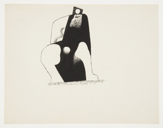 Study of a cubist figure, depicted seated. The figure's body is rendered in black, pierced by a round white hole between the figure's legs. The figure's head is depicted by a black trapezoid with a white circle in the middle, and a white beard below.