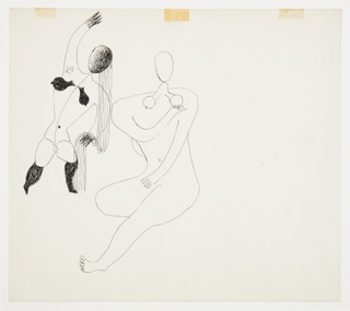 Two studies of abstracted nude figures, one standing (at left) and one seated (at right). The standing figure is depicted frontally, with right arm raised above head. The figure's facial features are obscured by long hair which falls down to the figure's left side. The figure's breasts and legs from knee down are shaded in black. The second seated figure is rendered in outline, seated with right knee bent underneath their body. This figure's right arm is bent across their body to rest on their left shoulder.