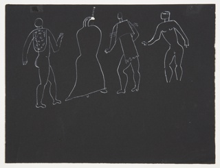 Four studies of figures rendered in white outline in semi-abstraction. Each figure is surreally costumed. From left to right, one nude figure wears only a rounded shawl, one figure has a bird-like head, one figure is depicted in a two-tiered cape, and one figure is nude.