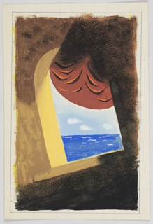 """Study for """"Orient Line Cruises South"""" poster. Tilted view of the sea through an archway with rust-colored curtain."""