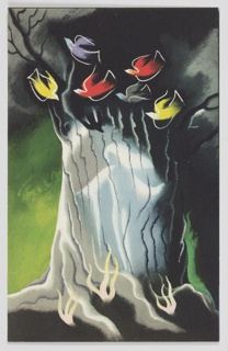 Illustration for a 1944 edition of W. H. Hudson's book, Green Mansions, published by Random House. Centered against a green and black background, a closely cropped view of a large tree's trunk. Against the tree trunk, a white, ghostly figure stands with their arms spread, seeming to look to the left. The figure seems to be superimposed onto the trunk. Above, six birds, in red, yellow, purple and gray fly among the tree's branches.